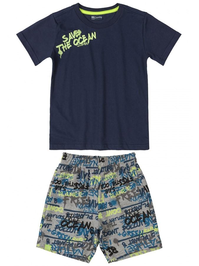 Conjunto Infantil Camiseta e Bermuda Save The Ocean Marinho Quimby