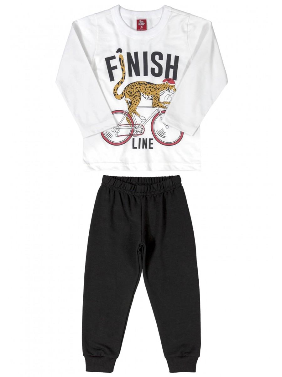 Conjunto Infantil Camiseta e Calça Moletom Finish Line Branco Bee Loop