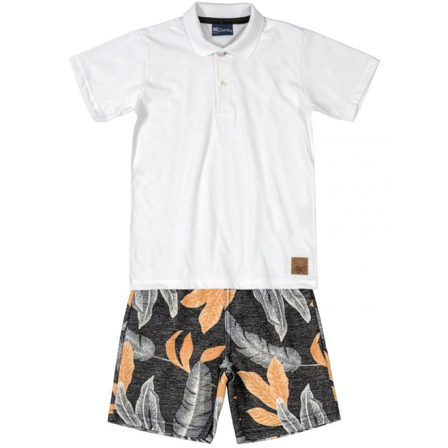 Conjunto Infantil Camiseta Polo e Bermuda Branca Quimby