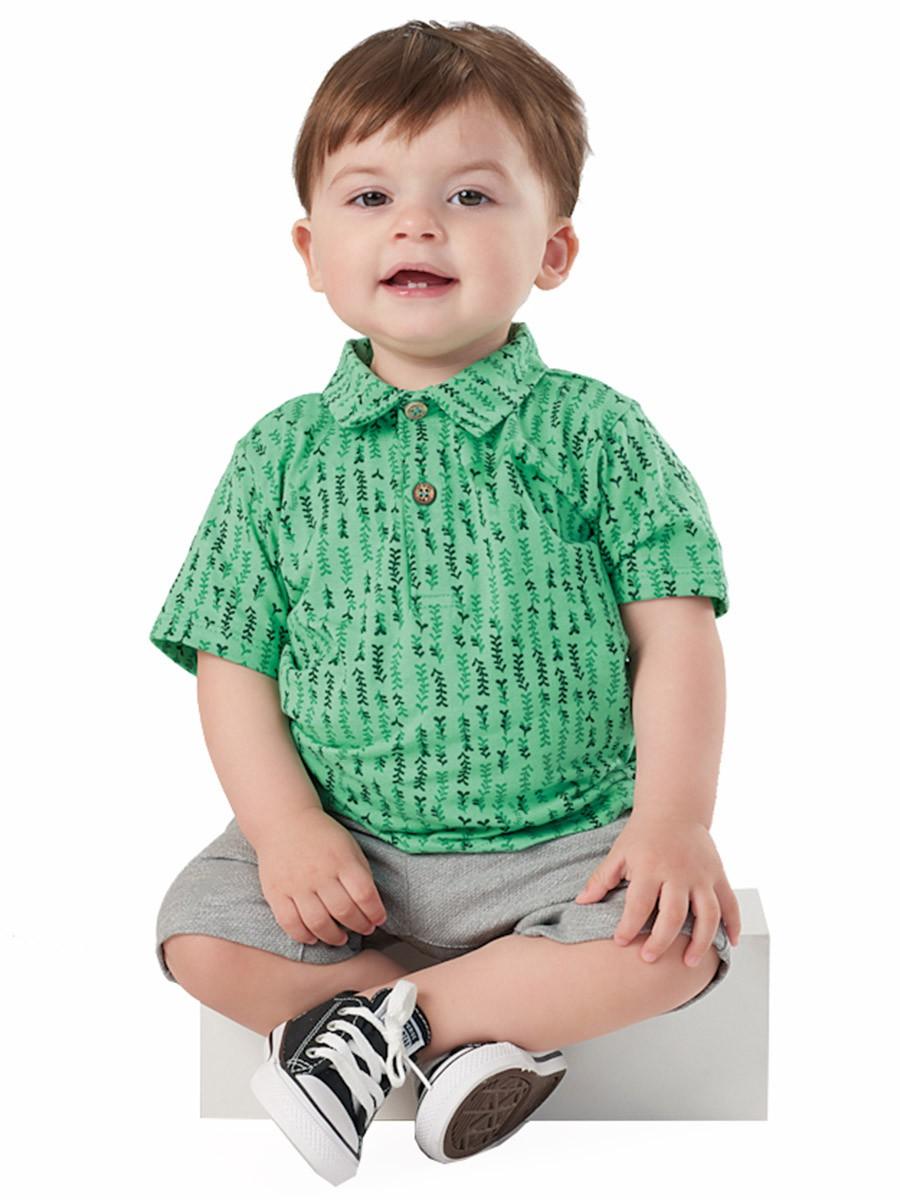 Conjunto Infantil Polo e Bermuda Folhinhas Verde Up Baby