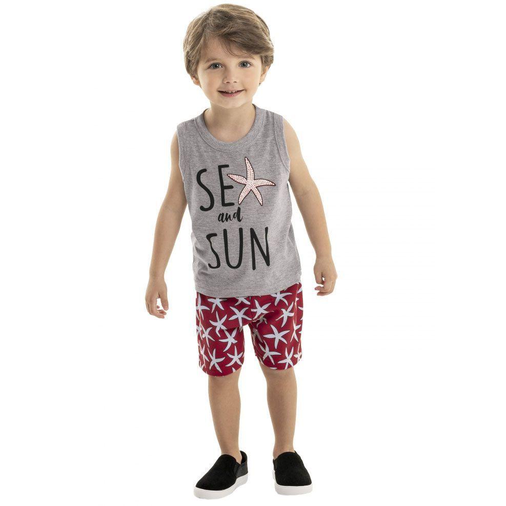 Conjunto Infantil Camiseta Regata e Bermuda Cinza Bee Loop