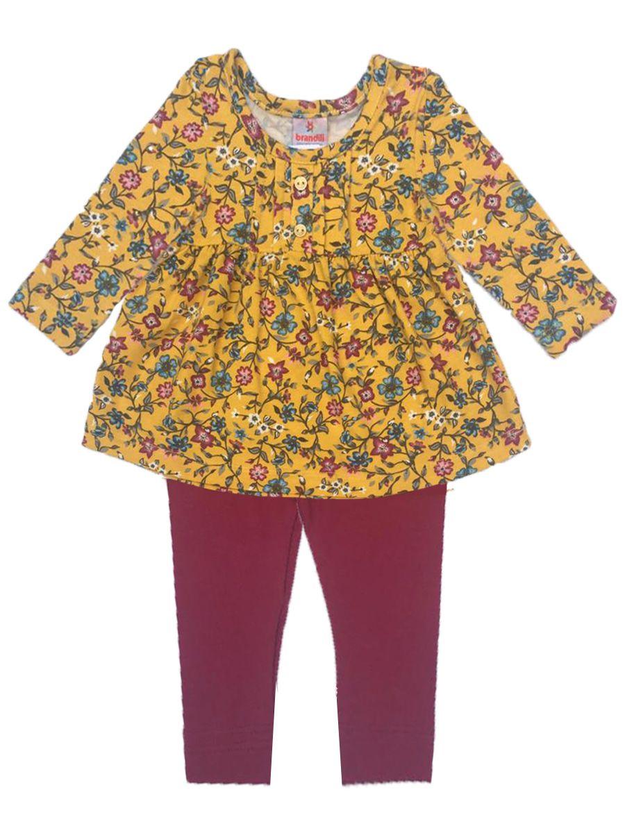 Conjunto Bebê Bata e Legging Florido Amarelo Brandili