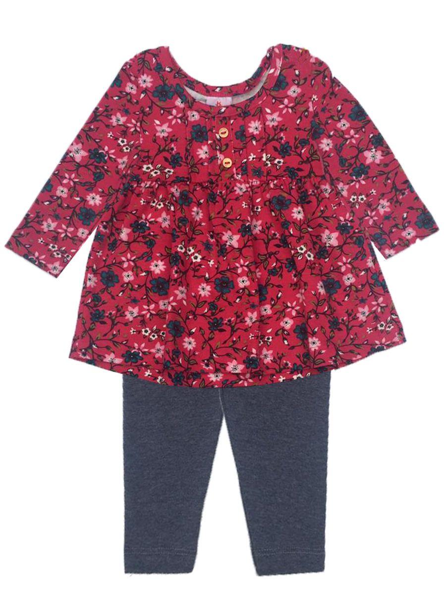 Conjunto Bebê Bata e Legging Florido Pink Brandili