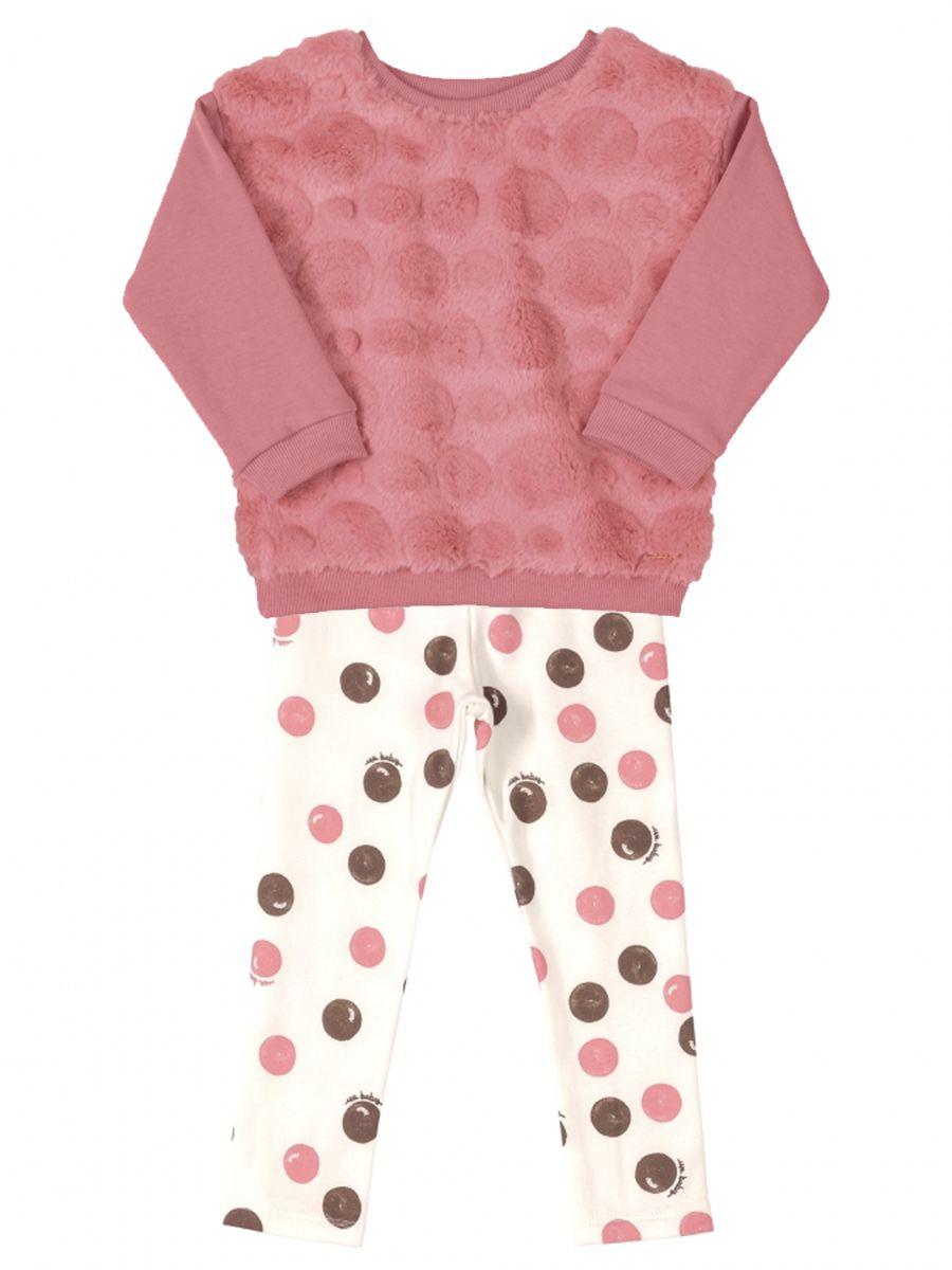 Conjunto Bebê Blusão e Calça em Molecotton Pêssego Up Baby