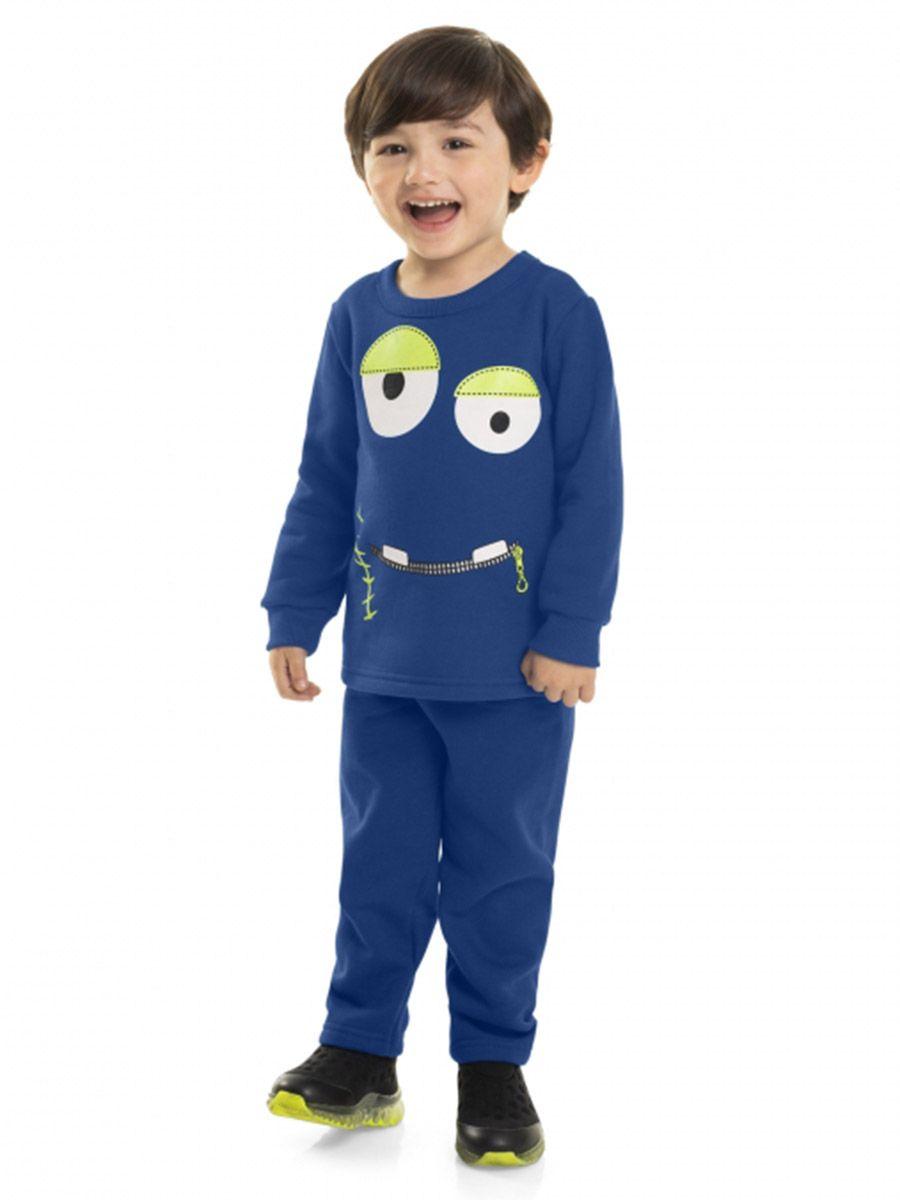 Conjunto Infantil Blusão e Calça em Moletom Monstro Azul Royal Bee Loop