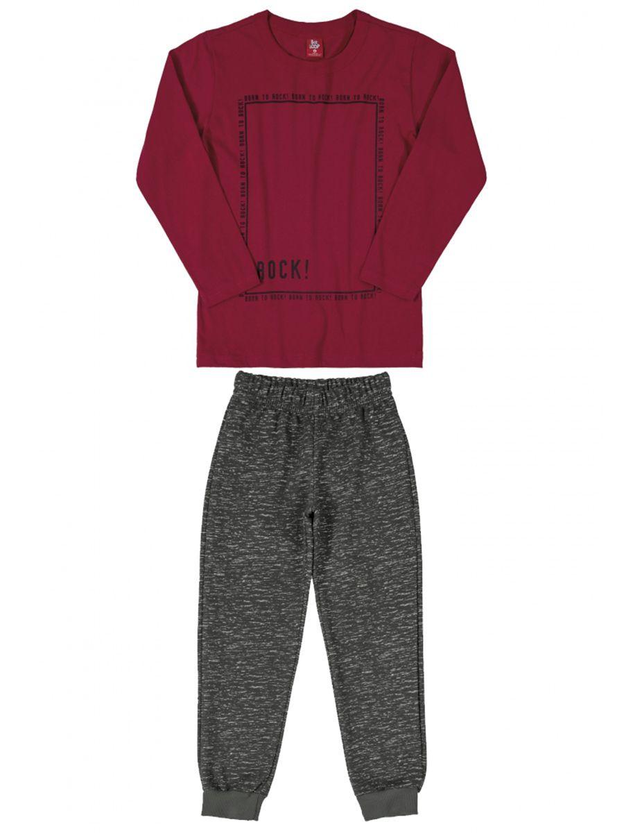 Conjunto Infantil Camiseta e Calça Moletom Rock Bordô Bee Loop