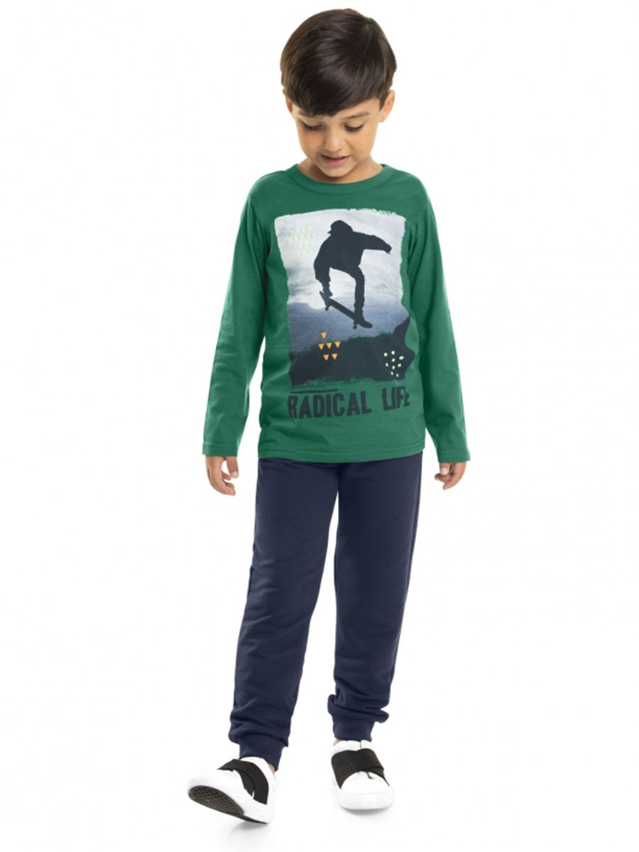 Conjunto Infantil Camiseta e Calça Moletom Skate Verde Bee Loop