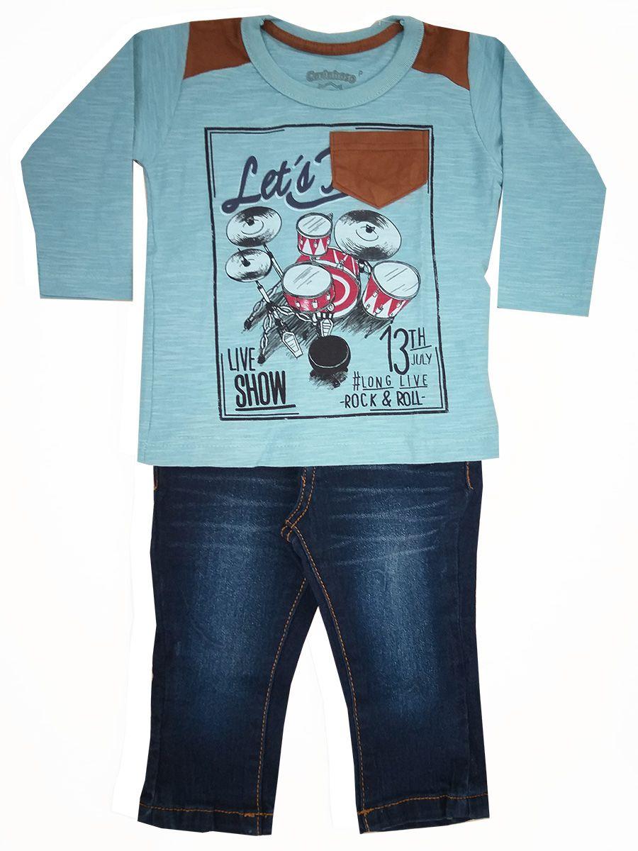 Conjunto Bebê Camiseta Manga Longa e Calça Jeans Carinhoso