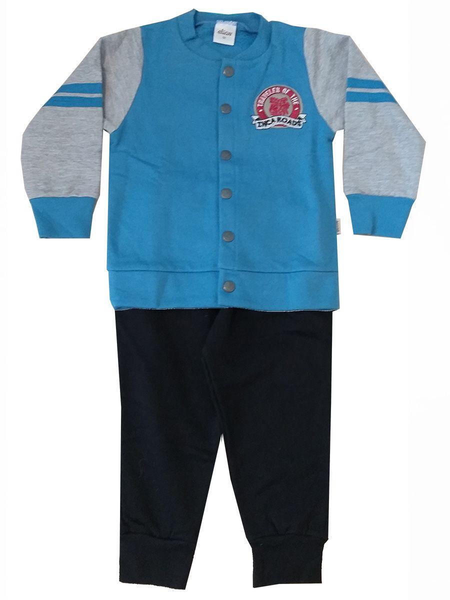 Conjunto Infantil Moletom com Botões Azul Elian