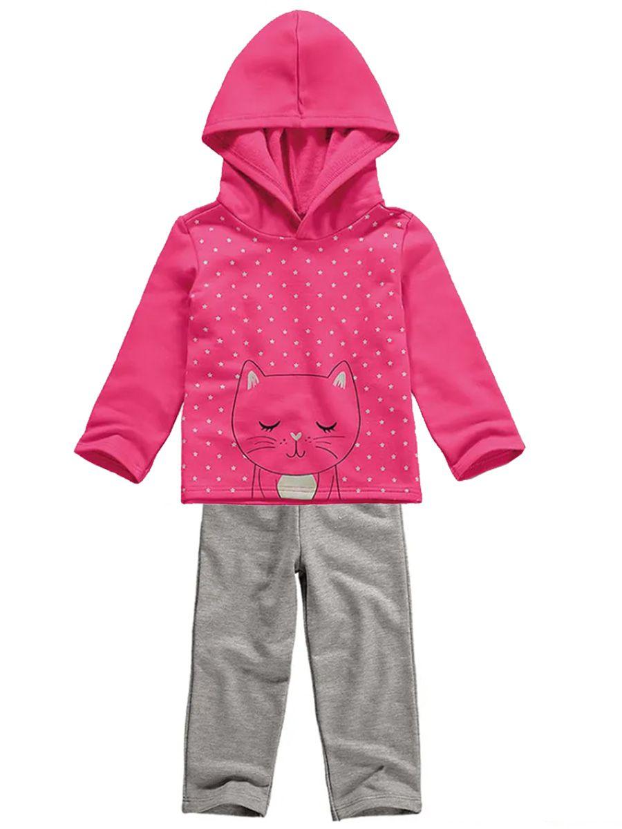 Conjunto Infantil Moletom com Capuz Gatinho Pink Malwee Kids