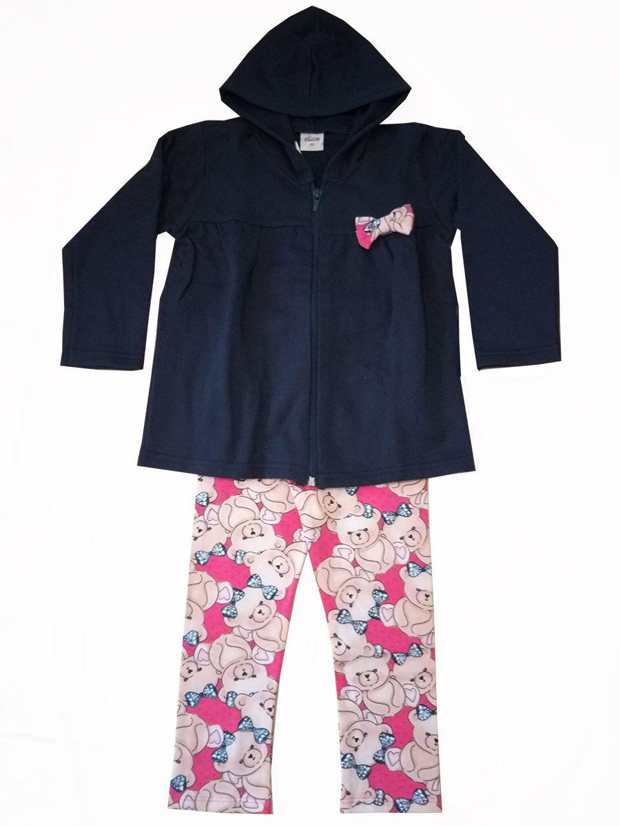 Conjunto Infantil Moletom e Legging Ursinhos Azul Elian