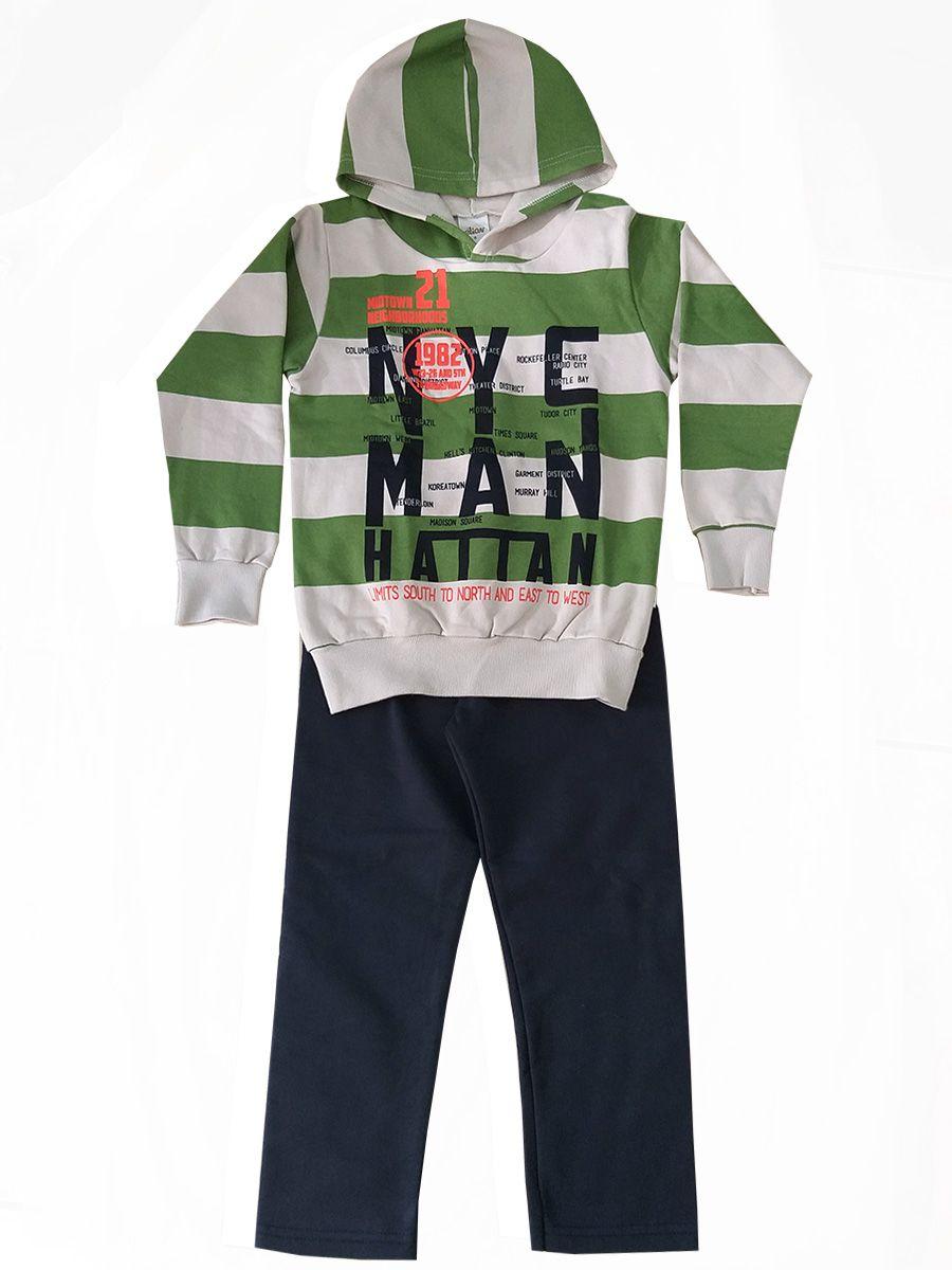 Conjunto Infantil Moletom Listrado NYC  Verde Elian