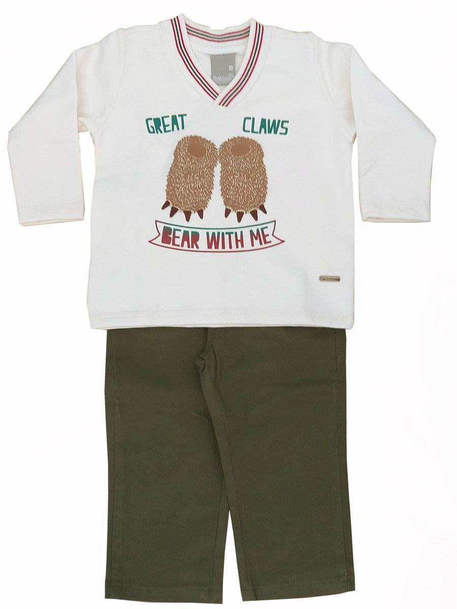 Conjunto Bebê Moletom Pata Urso Bege com Calça Jeans Carinhoso