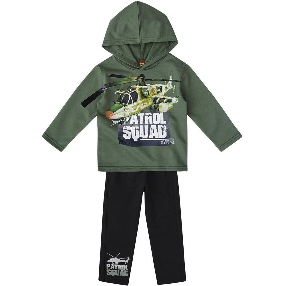 Conjunto Infantil Moletom com Capuz Patrol Squad Verde Kyly