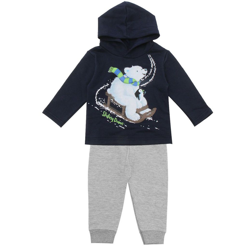 Conjunto Infantil Moletom com Capuz Urso Polar Marinho Kyly