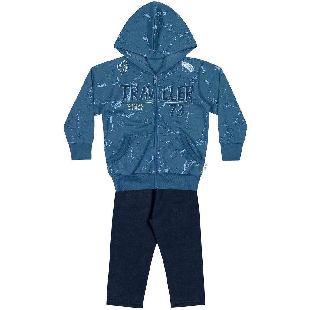 Conjunto Infantil Moletom com Ziper e Capuz Traveller Azul Elian