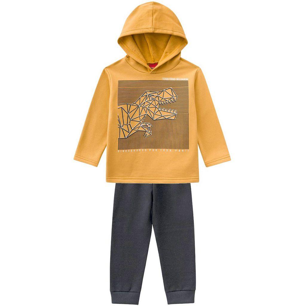 Conjunto Infantil Moletom Dino Selvagem Amarelo Kyly