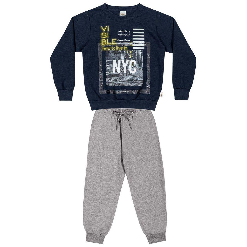 Conjunto Infantil Moletom NYC Azul Marinho Elian