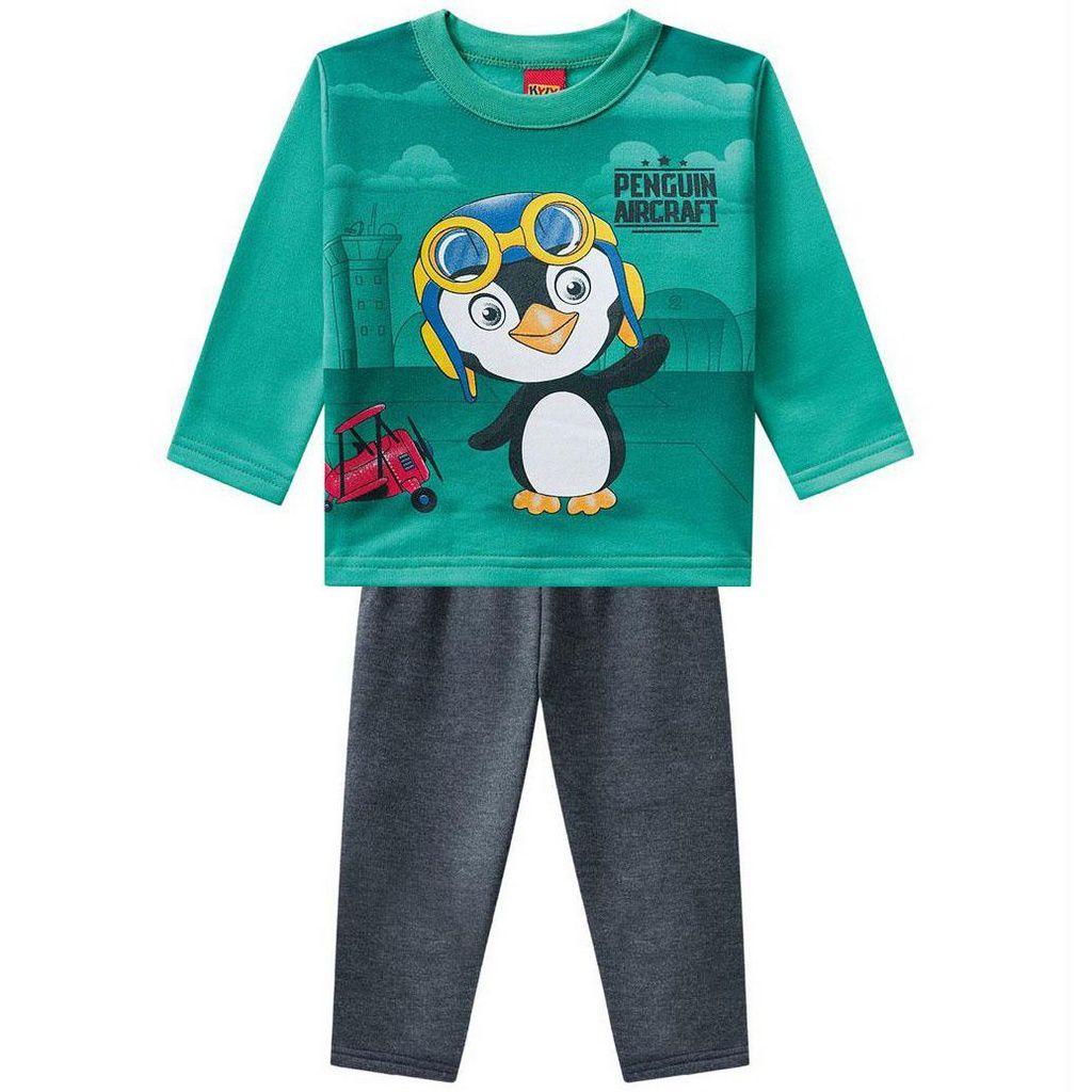 Conjunto Infantil Moletom Pinguim Verde Kyly
