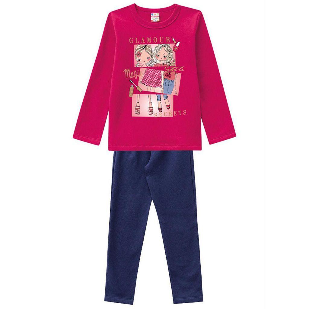 Conjunto Infantil Moletom Glamour com Legging Pink Brandili