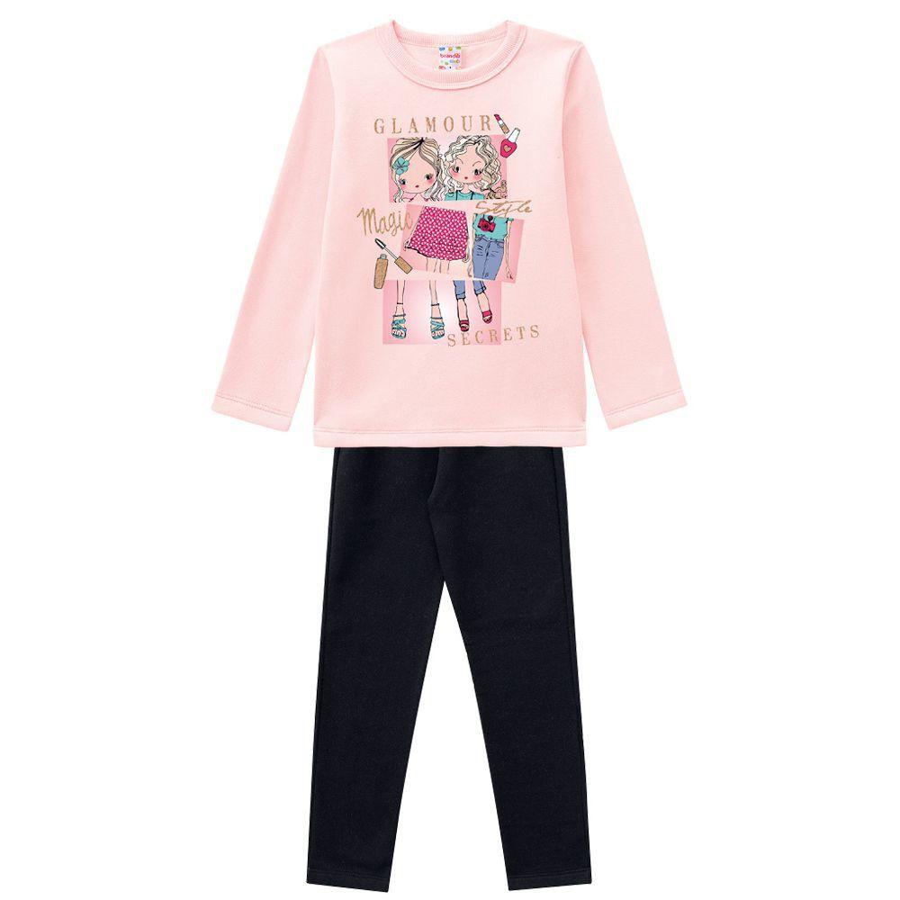 Conjunto Infantil Moletom Glamour com Legging Rosa Brandili