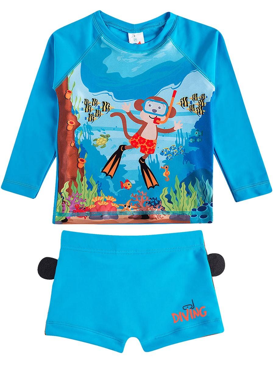 Conjunto Praia Bebê Macaco Mergulhador Azul Tip Top