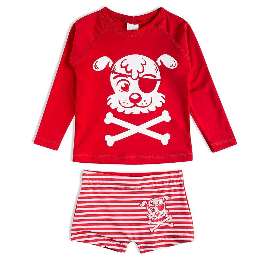 Conjunto Praia Infantil Cachorrinho Pirata Vermelho Tip Top