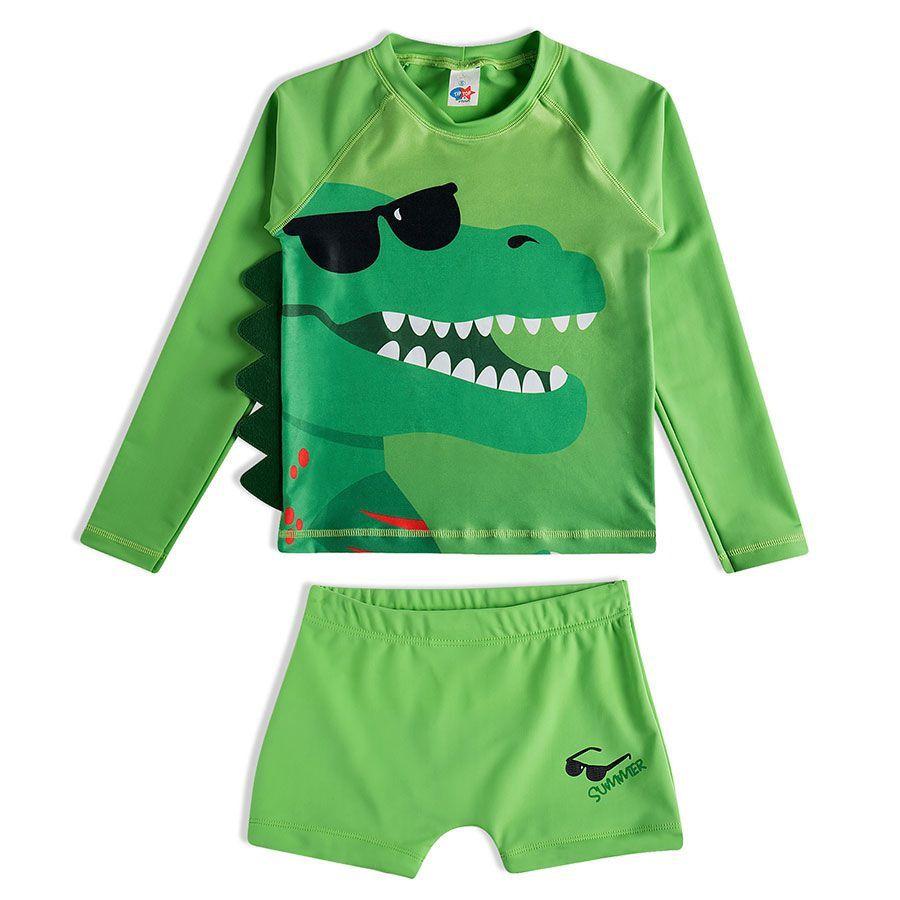 Conjunto Infantil Praia Camiseta e Shorts Dino Verde Tip Top