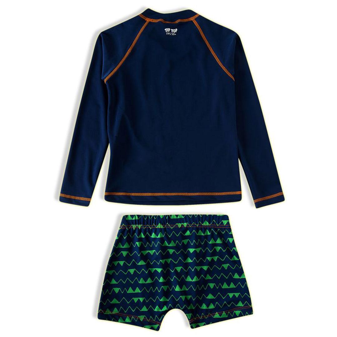 Conjunto Praia Infantil Camiseta e Shorts Jacaré Marinho Tip Top