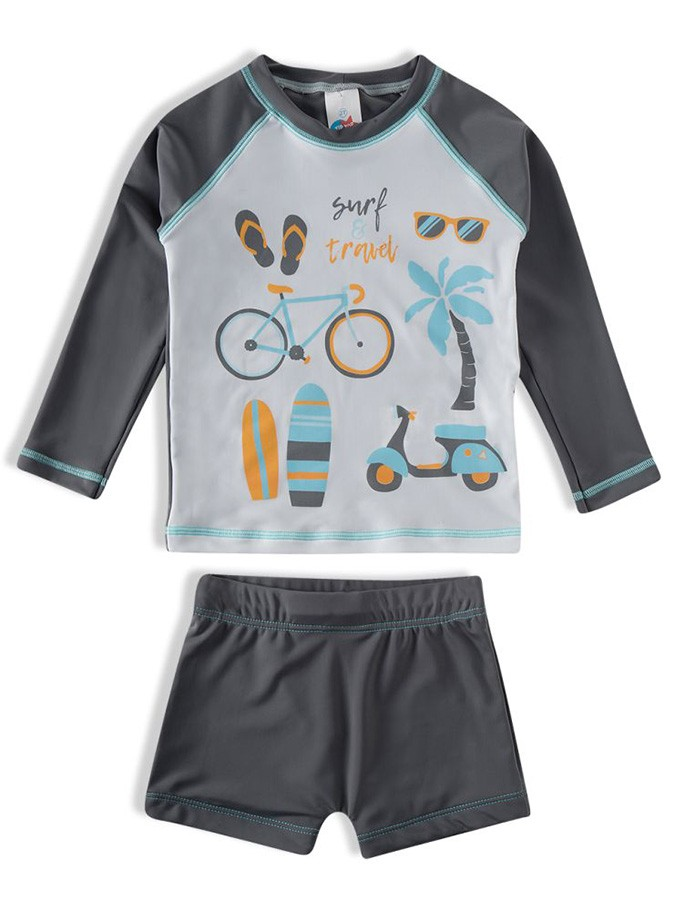 Conjunto Praia Infantil Camiseta e Shorts Travel Surf Cinza Tip Top