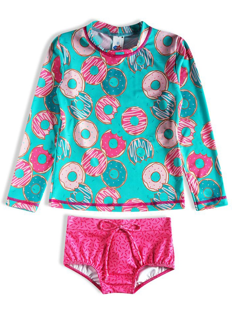 Conjunto Praia Infantil Donuts Be Happy Turquesa Tip Top