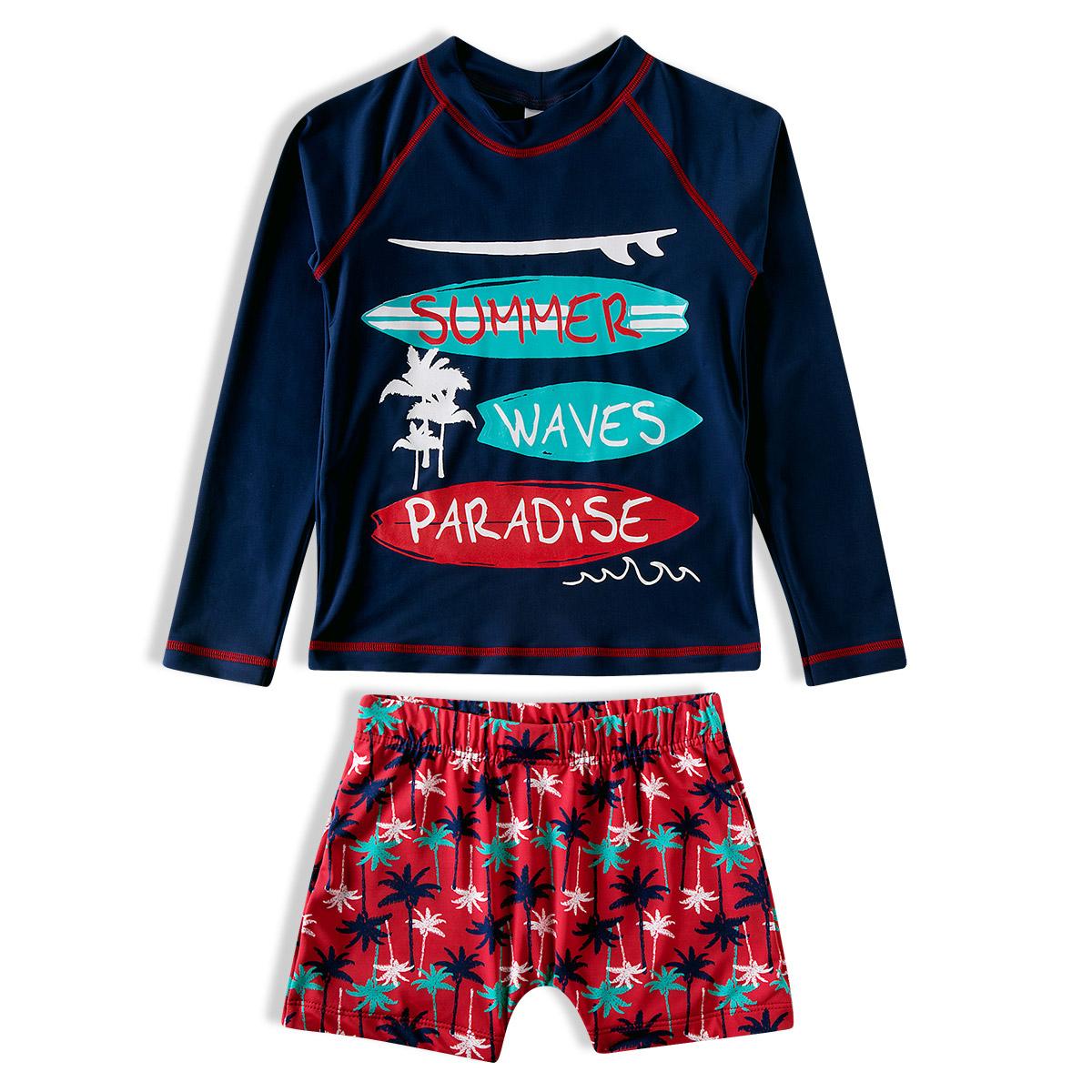 Conjunto Praia Infantil Summer Waves Marinho Tip Top