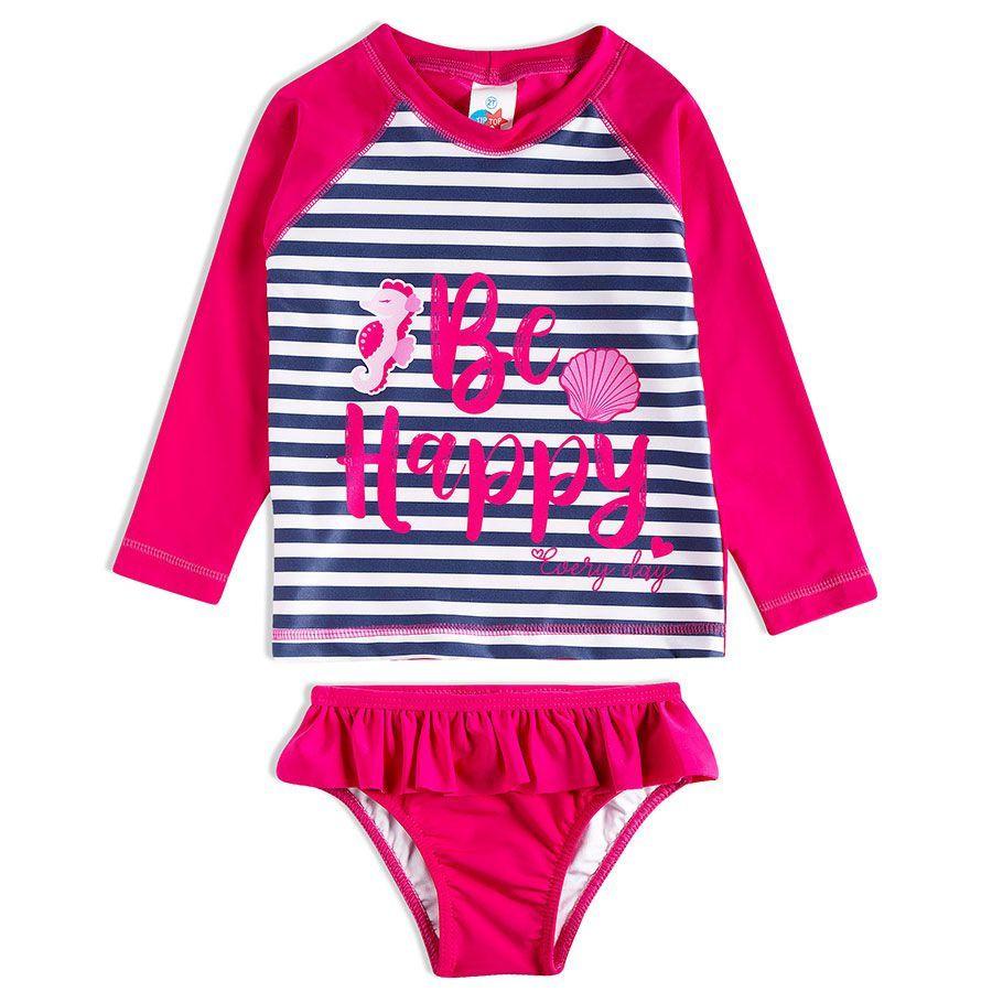 Conjunto Infantil Praia Listrado Cavalo Marinho Pink Tip Top