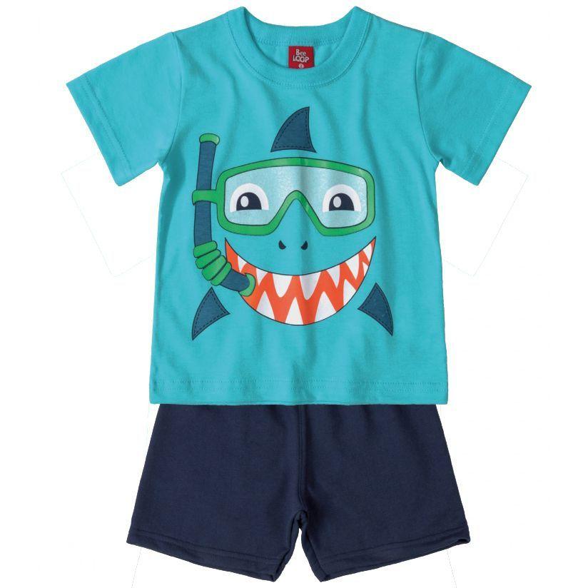 Conjunto Infantil Camiseta e Bermuda Moletinho Tubarão Azul Bee Loop