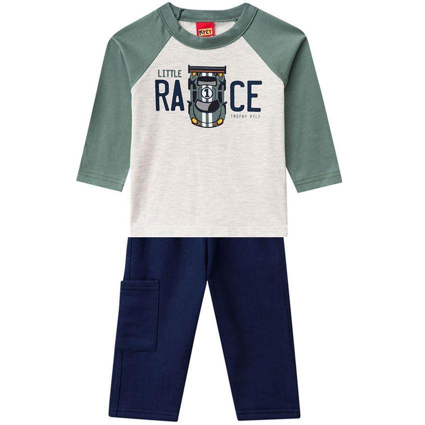 Conjunto Infantil Camiseta Manga Longa e Calça de Moletom Race Kyly
