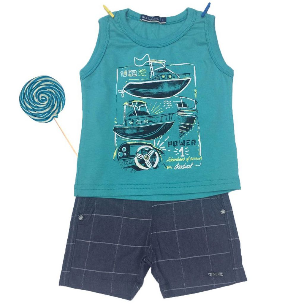 Conjunto Bebê Camiseta Regata e Bermuda Jeans Dila