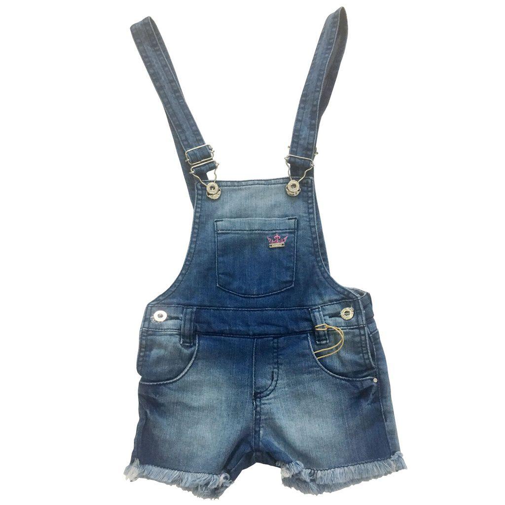 Jardineira Jeans Infantil com Bordado Crawling