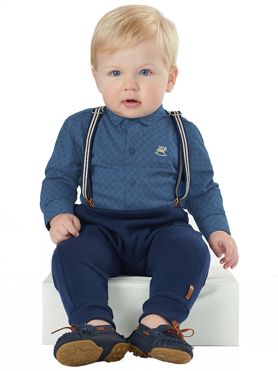 Kit Body Bebê Manga Longa Calça e Suspensórios Marinho Up Baby