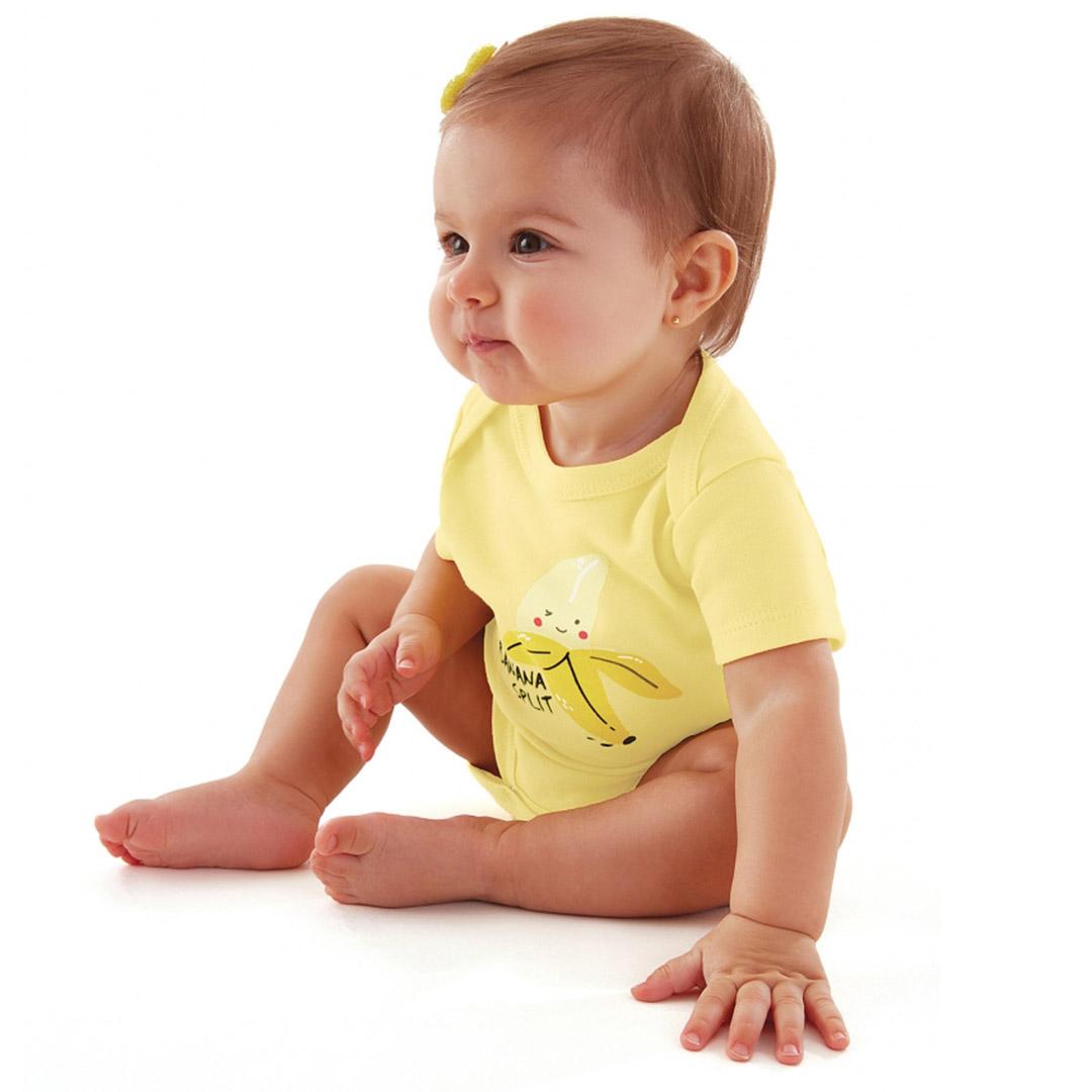 Kit Body e Macaquinho com Babador Removível Amarelo Pintassilgo Up Baby
