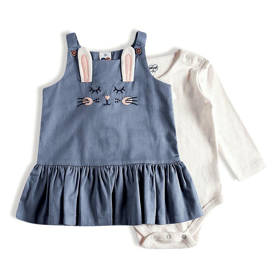 Kit Body e Salopete Bebê Jeans Azul Tip Top