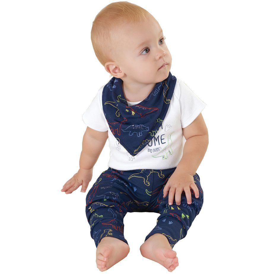 Kit Body Bebê Manga Curta, Calça e Babador Branco Dinos Up Baby