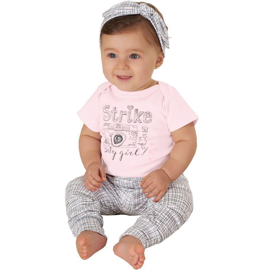 Kit Body Bebê Manga Curta, Calça e Faixa Rosa Up Baby