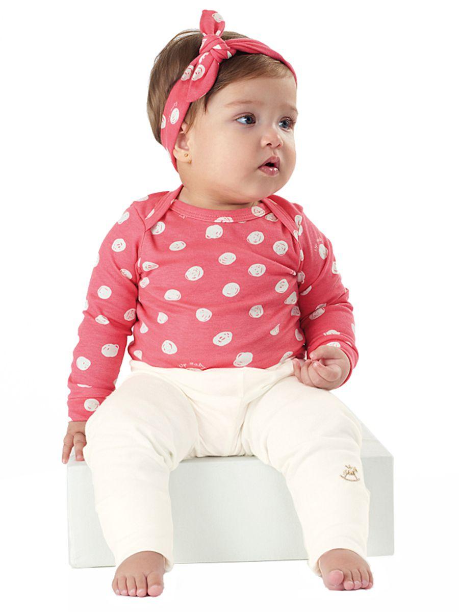 Kit Body  Bebê Manga Longa, Calça e Faixa Bolas Up Baby