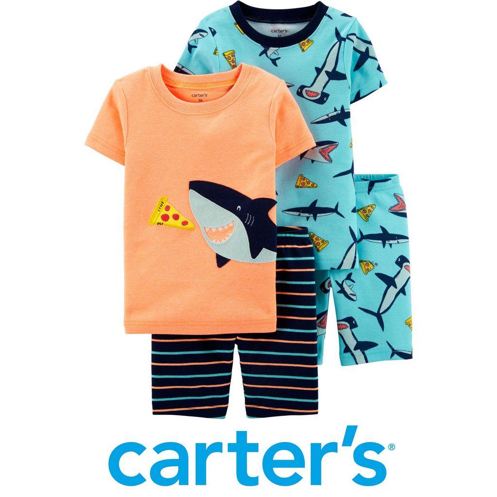 Kit Pijama 4 Peças Tubarão Laranja e Turquesa Neon Carter´s