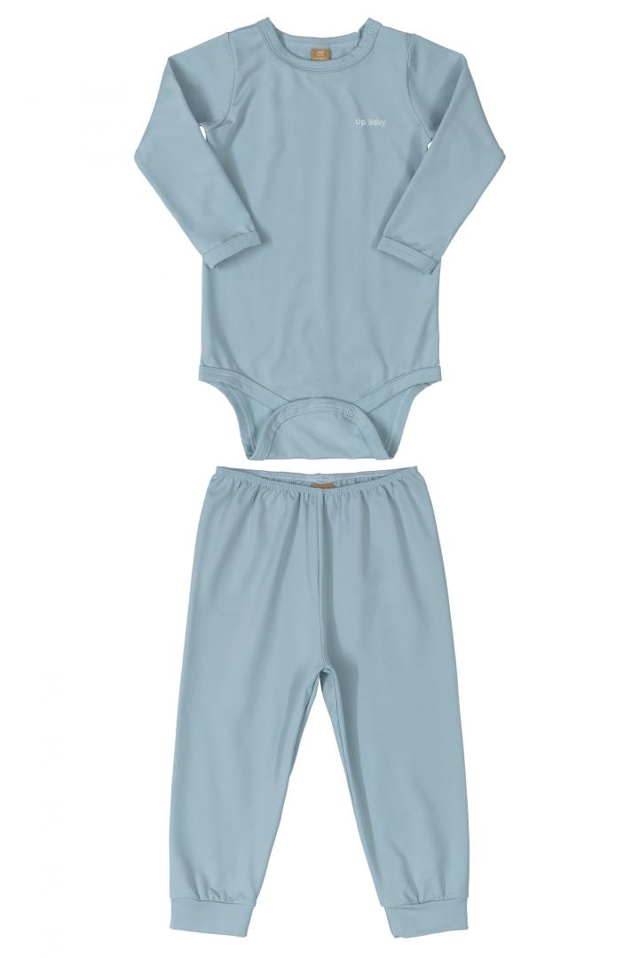 Kit Pijama Térmico Body e Calça Bebê Energy Thermo Dry Azul Up Baby