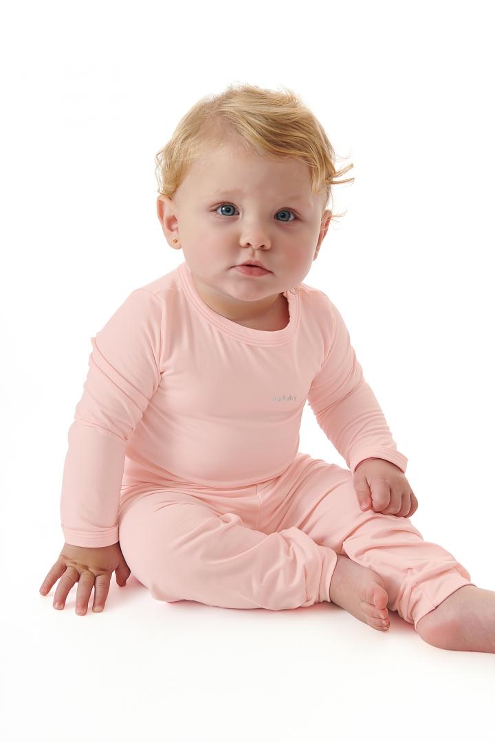 Kit Pijama Térmico Body e Calça Bebê Energy Thermo Dry Rosa Up Baby