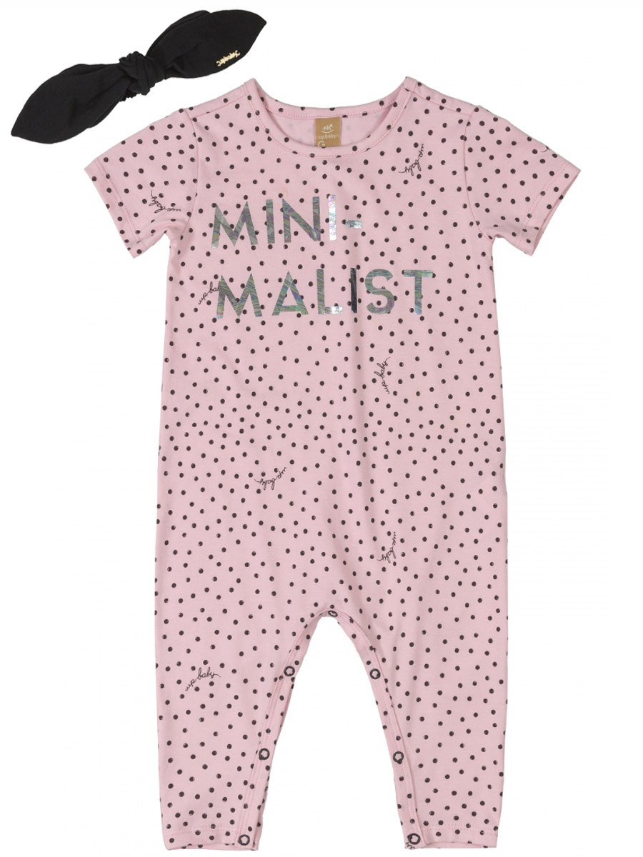 Macacão Bebê com Faixa Minimalist Poás Rosa Up Baby