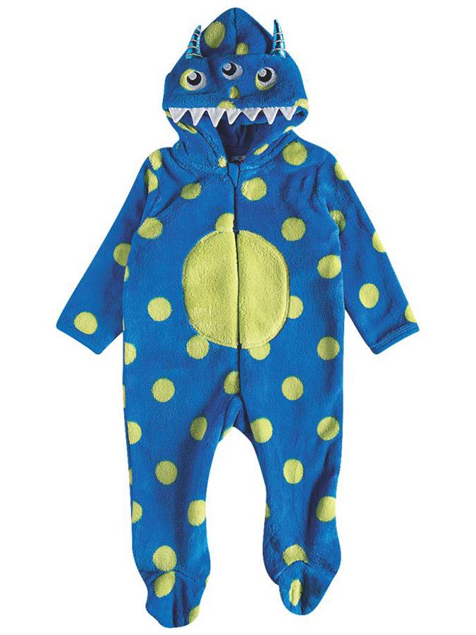 Macacão Bebê Pelúcia Monstrinho com Capuz Azul Tip Top