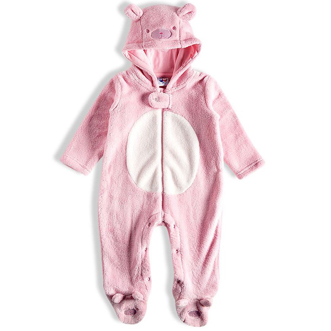 Macacão Bebê Pelúcia Ursinha com Capuz Rosa Tip Top