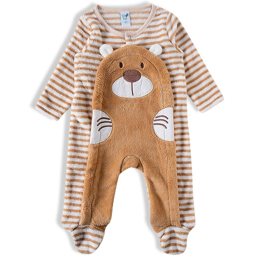 Macacão Bebê Pelúcia Ursinho Caramelo Tip Top